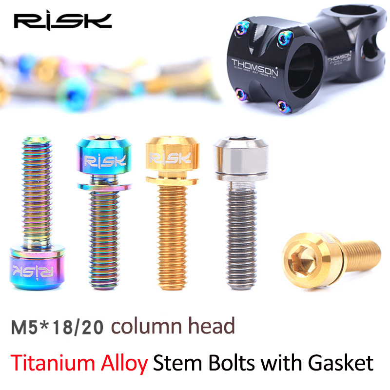 M5x16 18 20mm Ti Bike Bolt Titanium Screws Bicycle Stem Bolts+Washer Gasket 6PCS