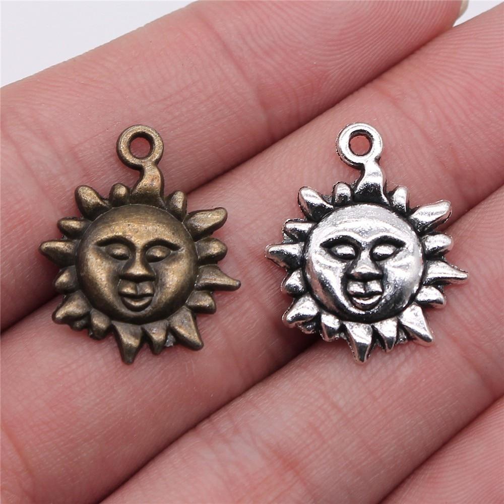 WYSIWYG 20pcs 23x19mm Pendant Sun Sun Charm Pendants For Jewelry Making Antique Silver Color Sun Pendants
