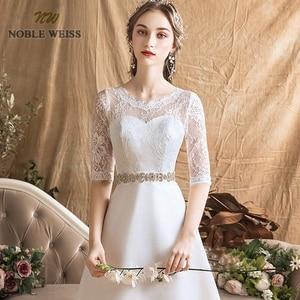 Image 4 - Женское ТРАПЕЦИЕВИДНОЕ простое свадебное платье, сексуальные свадебные платья до пола с поясом, свадебное платье с кружевом