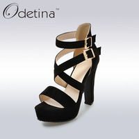 Odetina 2017 Summer Sexy Black Super High Heels Gladiator Platform Sandals Open Toe Women Buckle Strap
