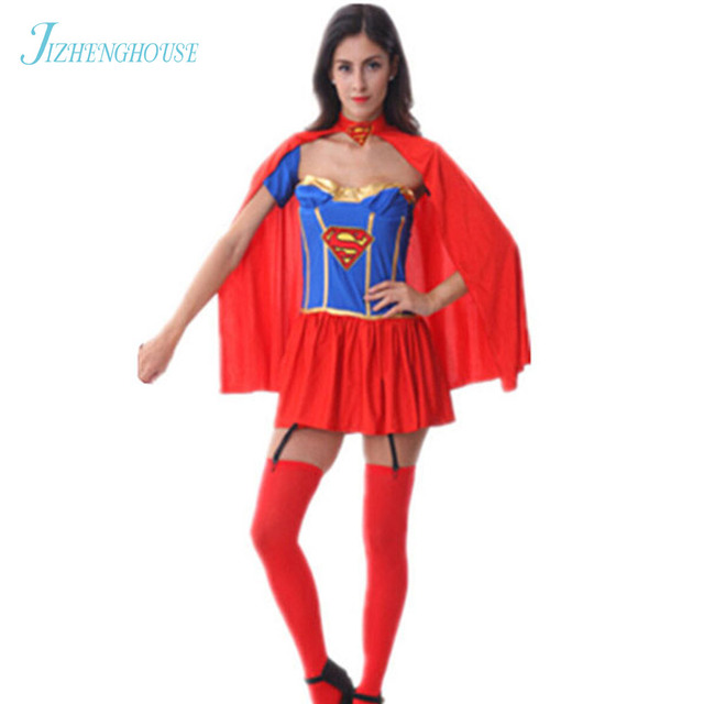 JIZHENGHOUSE Halloween Superman Mulher Maravilha Trajes Partido Cosplay  Para Meninas Roupas Super Mulher Roupas Coaplay 6c0847bc10d