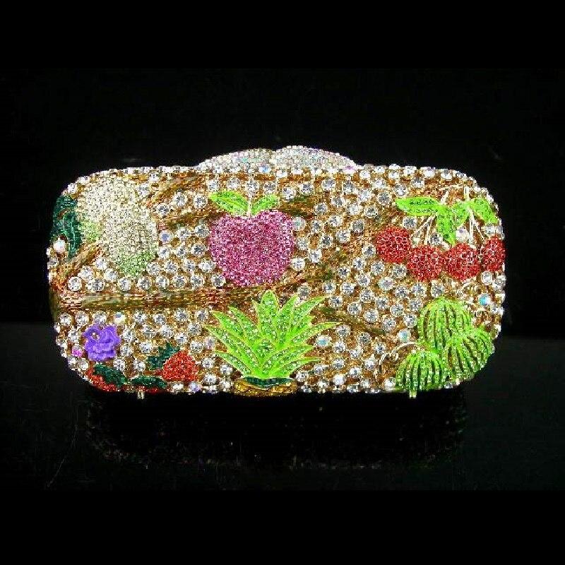 ФОТО 8122 color-C FRUIT Crystal Wedding Bridal Party Night hollow Metal Evening purse clutch bag case box handbag