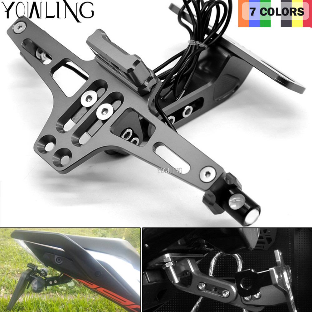 Motorcycle Accessories CNC Rear License Plate Mount Holder With LED Light For BMW F650GS F700GS F800GS F800GT F800R F800S F800ST