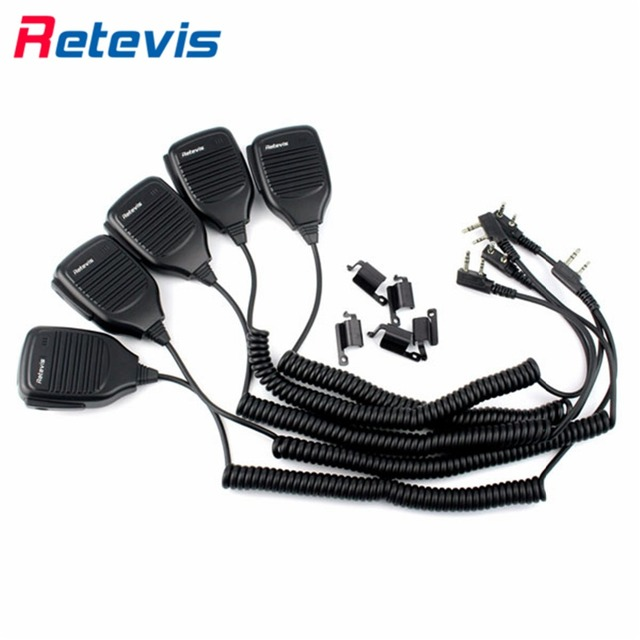 5pcs High Quality 2Pin PTT Speaker Microphone Walkie Talkie Mic Accessories For Kenwood Baofeng UV-5R BF-888s RT-5R H777 TYT Px