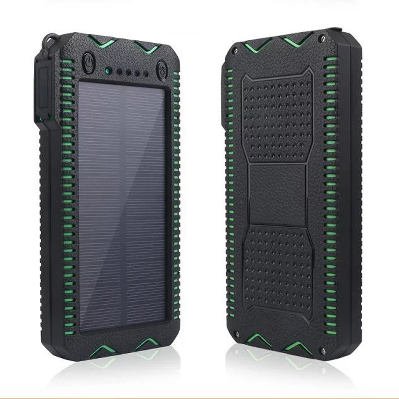 4 In 1 12000mAh Portable Solar Charger Panel Emergency Flashlight USB Power Bank Cigar Lighter Compass
