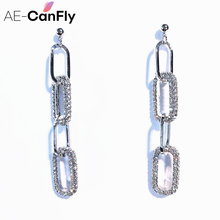 AE-CANFLY Fashion Vintage Geometric Long Dangle Flash Crystal Chain Earrings Accessories For Party Gift