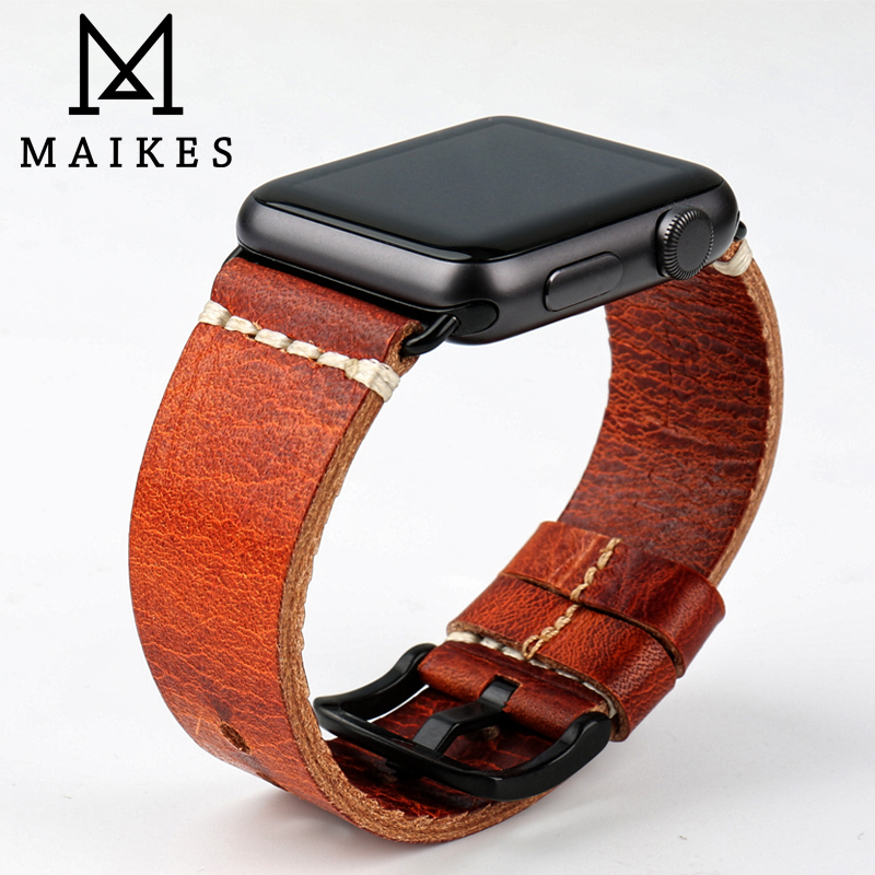 MAIKES Watch Accessories Genuine Leather Apple Watch Strap Vintage Watchband For Apple Watch Band 42mm 38mm iWatch Bracelet