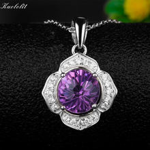 Kuololit Natural Amethyst Fireworks Gemstone Pendants Necklaces For Women 925 Sterling Silver Jewelry Purple Stone Wedding Gift(China)