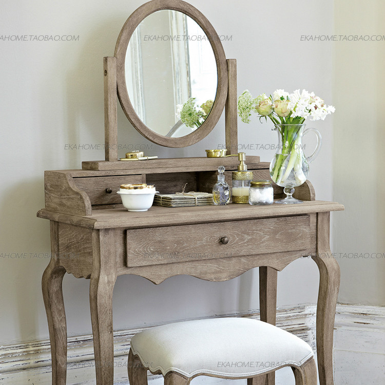 Exports Of Solid Wood Furniture French Country Oak Dresser Vanity Mirror  Dressing Stool Three Piece Retro In Children Tables From Furniture On ...