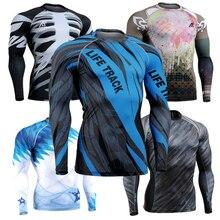 New 2016 3D Prints MMA  T Shirt Compression Tights Men'sLong Sleeve Fitness Men T-shirts & Tops