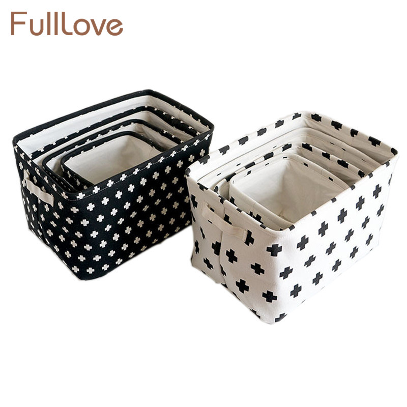 FullLove Cross Printed Storage Basket Folding Black S M L XL Clothes Stationery Organizer Toys Case Home Storage & Organization