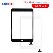 Pantalla táctil para Apple iPad Mini 3 2 Mini3 Mini2 digitalizador de pantalla táctil A1599 A1600 A1601A1395 A1396 A1397 con hogar botón