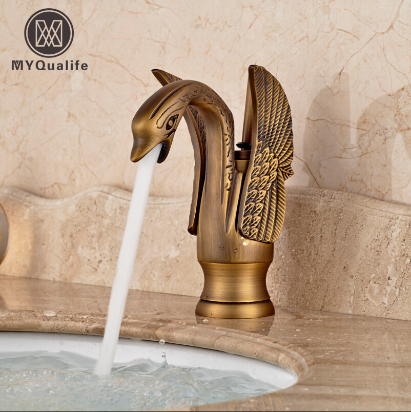 Swan Shape Bathroom Basin Vessel Sink Faucet Brass Hot and Cold Water Mixer Taps Antique Brass Finished donyummyjo luxury bathroom basin faucet brass golden polish swan shape single handle hot