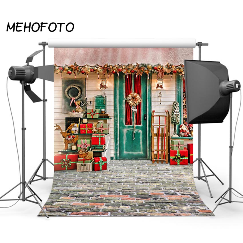 Photographic Backdrops Christmas Red House Gift Window Children Celebrate Photocall Photo Studio Photobooth Fantasy Background photographic studio background white clouds blue dinette chinese style new born professional xmas photocall background pictures