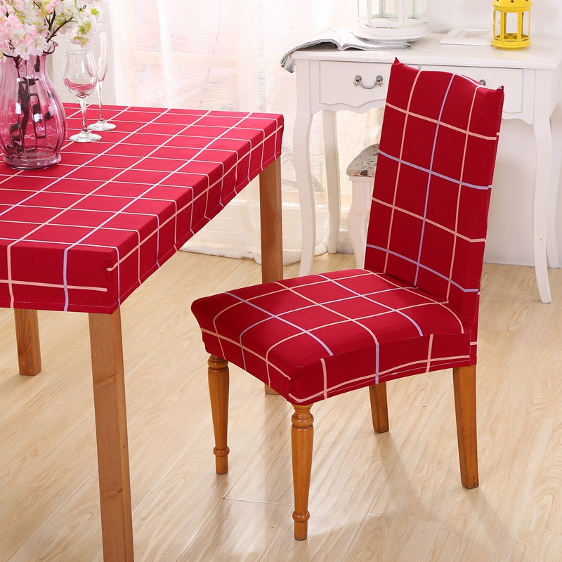 1pc Chair Covers Spandex Red Plaid Dining Cover Striped Removable Room Office Stool