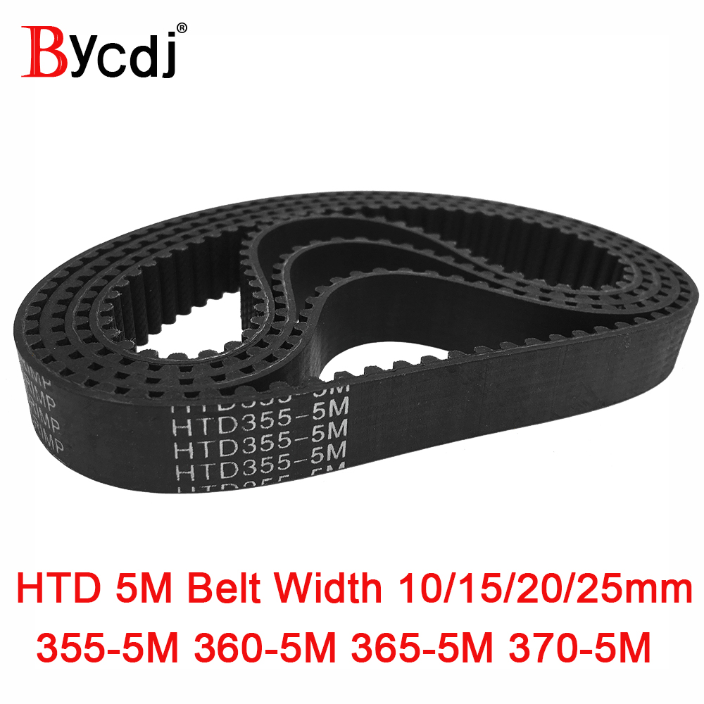 Arc HTD 5M Timing belt C=355/360/365/370 width10/15/20/25mm Teeth 71 72 73 74 <font><b>HTD5M</b></font> synchronous Belt 355-5M 360-5M 365-5M 370-5 image