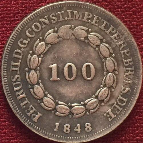 1848 Бразилия 100 Reis Монеты Скопируйте Бесплатная доставка