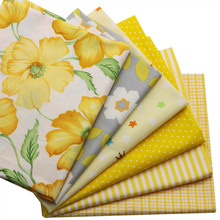 hot deal buy cotton sewing twill fabric floral little plaid stripes quilting bundle handmake fabric 7 designs 40x50cm yellow color