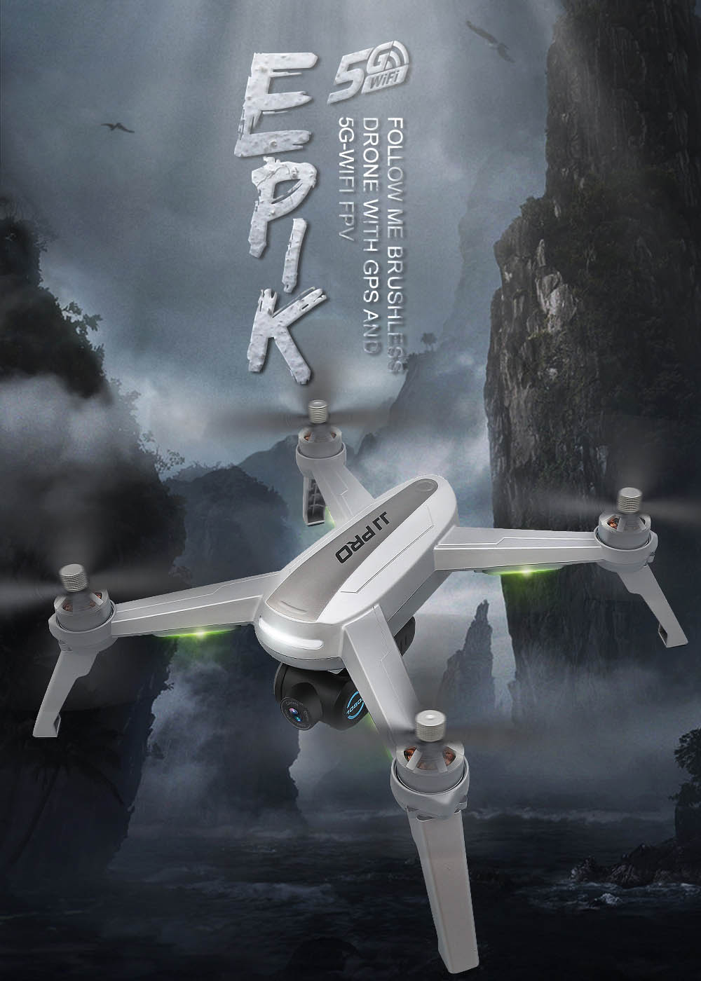 JJRC JJPRO X5 RC Drone 5G WiFi FPV Drones GPS Positioning Altitude Hold 1080P Camera Point of Interesting Follow Brushless Motor 1