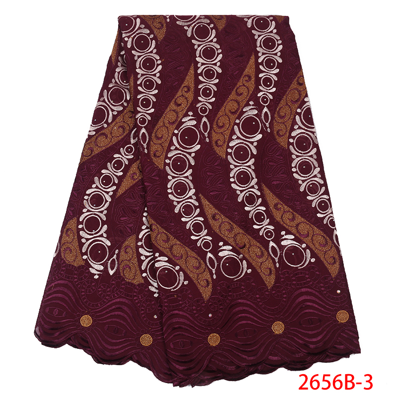 2019 Latest African Cotton Lace Fabric High Quality Swiss Voile Lace In Switzerland Nigerian Laces With Stones KS2656B-3