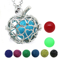 Trendy Apple Aromatherapy Essential Oil Diffuser Necklace Pendant Locket Antique Silver Small Bell Lava Stone Luminous
