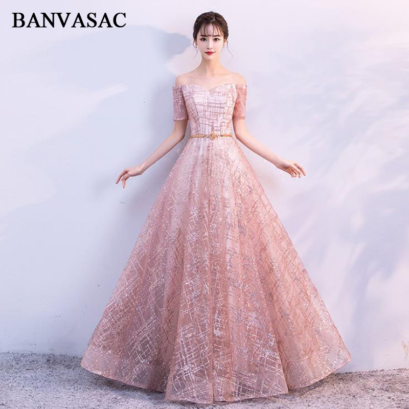 BANVASAC 2018 Sweetheart Sequined A Line Long   Evening     Dresses   Crystal Sash Party Lace Short Cap Sleeve Prom Gowns