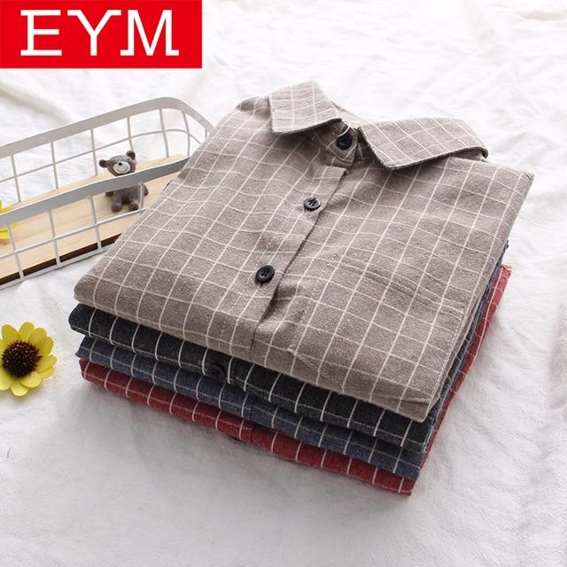 EYM 2018 осенью новый Для женщин Рубашки в клетку брендовая хлопковая Повседневное Для женщин с длинным рукавом блузки топы Feminina Офисная Женская блузка Blusas