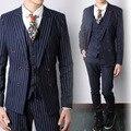 (Jacket + pants + vest) conjuntos de ternos de casamento do noivo prom party traje trajes cantor dancer mostrar festa fino azul bar boate