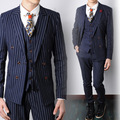 (jacket+pants+vest) wedding groom prom party suits sets costume singer dancer show party slim costumes blue bar nightclub