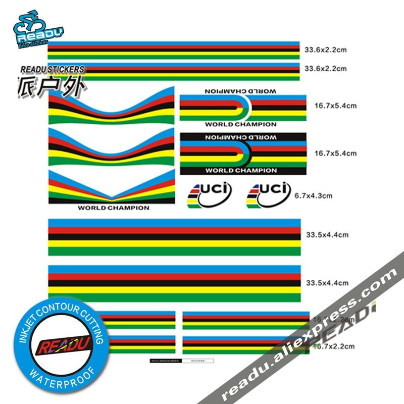 Monde Championnat Arc autocollants Arc Bandes Ensemble UCI Vélo De Route Accessoires Vélo Stickers