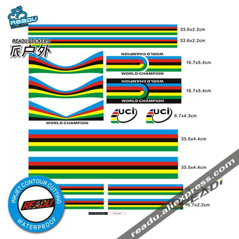 World Championship Rainbow stickers Rainbow Strips Set UCI Road Bike Bicycle Accessories Decals