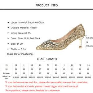 Image 5 - Женские туфли лодочки на высоком тонком каблуке, туфли с острым носком и кристаллами, свадебные туфли золотого цвета, новинка весны осени 2019
