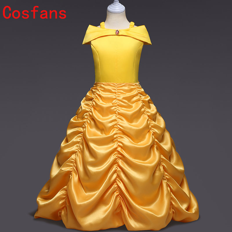 New Kids Fair BELLA Girls Christmas Costumes Long Dresses Beauty and The Beast Cosplay Clothing Children Princess Belle Dresses