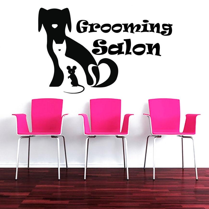 Dog Grooming Salon Pet Shop Sticker font b Decal b font Muurstickers Posters Vinyl font b