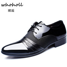 Whoholl Hollow Outs Breathable Men Formal Shoes Pointed Toe Patent Leather Oxford for Dress Business  Size 38-48