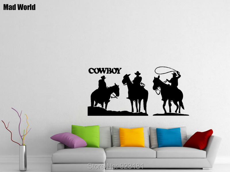 Free Shipping Western COWBOY HORSE Wall Stickers Decal DIY Home Decoration Wall Mural Removable Room Stickers (75x60cm)