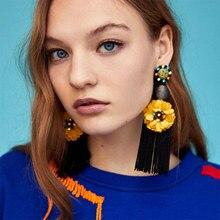 BK  Elegant Big Flower Women Exquisite Tassel Earrings Summer Vintage Round  Shape Dangle Drop Earrings For Women Jewelry Gift