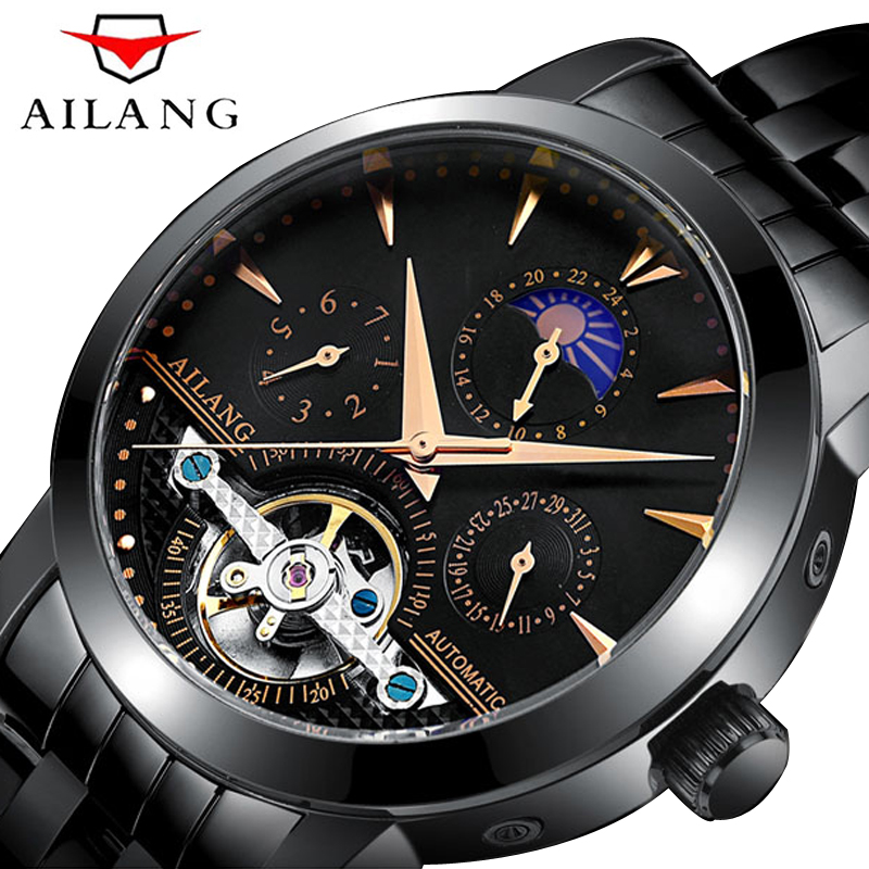 AILANG Tourbillon Design Three Dial Sport Military Black Stainless Steel Mens Automatic Wrist Watches Top Brand Luxury Men ClockAILANG Tourbillon Design Three Dial Sport Military Black Stainless Steel Mens Automatic Wrist Watches Top Brand Luxury Men Clock