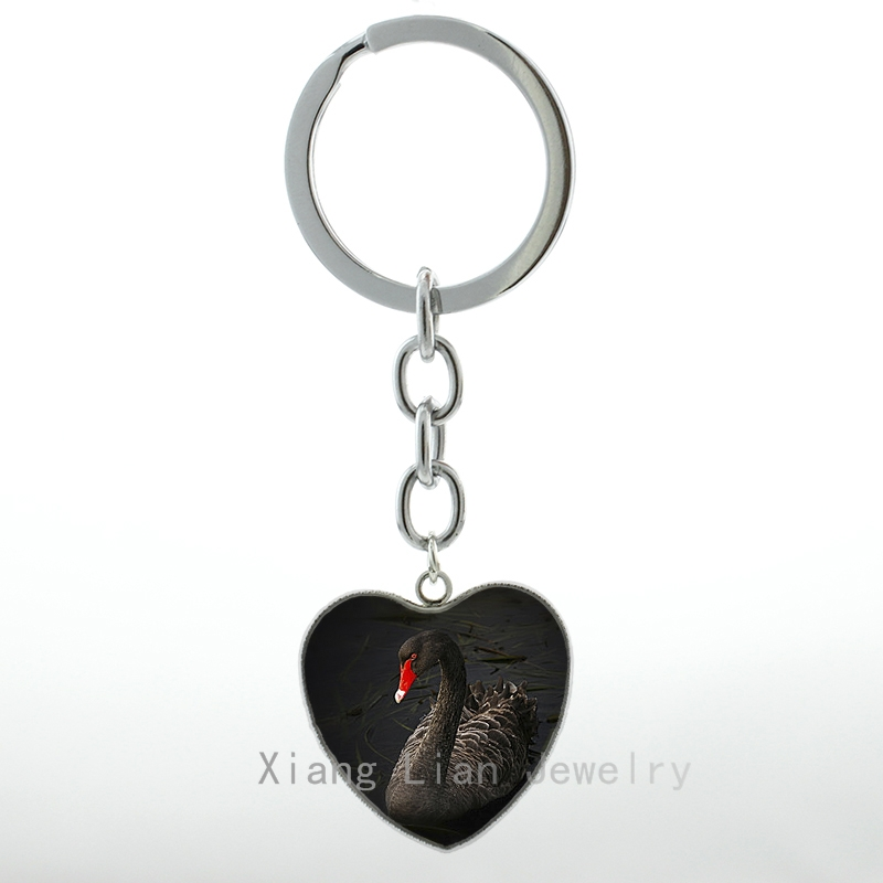 Swan Bird Fashion Rhinestone Metal Key Chain Ring Keyfob Bag Pendant Keychain