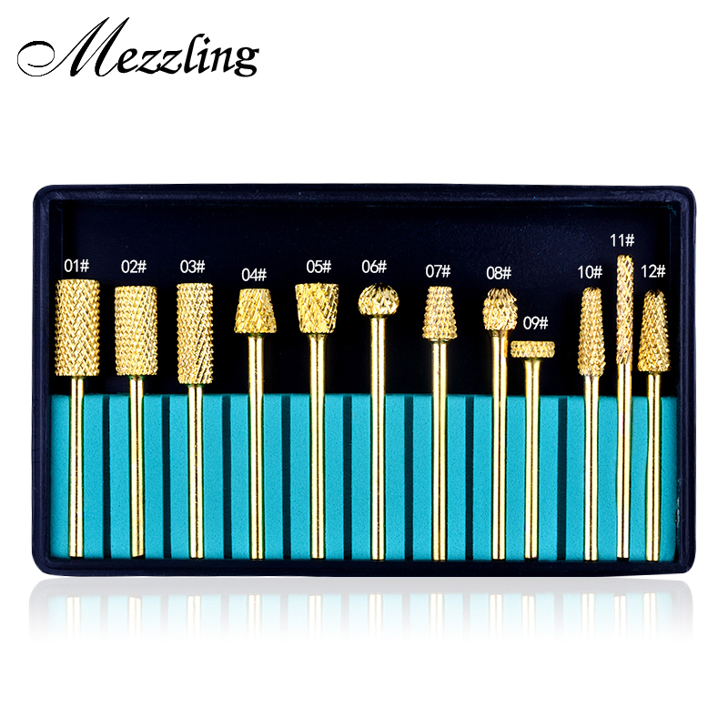 12Pcs/set High Quality Tungsten Carbide Nail Drill Bits for Electric Nail Drill Machine Pedicure Manicure Nail Art Tools victool carbide drill nail bits universal grit for electric nail files machine electric manicure pedicure bit nail art tools 17