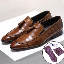 Men leather shoes business dress suit men brand Bullock genuine black slipon tassel wedding mens Phenkang