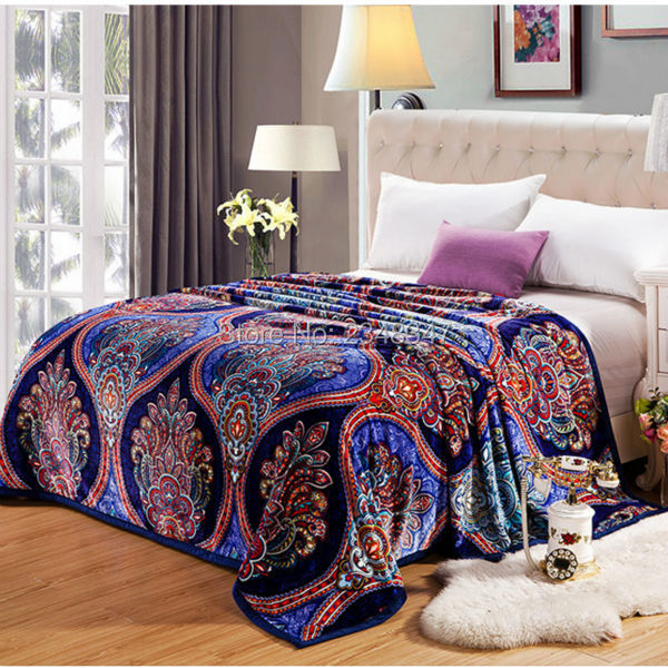 Ethnic Retro Baroque European Style Plush Soft Faux Mink Flannel Fleece Blanket Throws Twin/Full/Queen Size Air/<font><b>Sofa</b></font>/Bed Cover