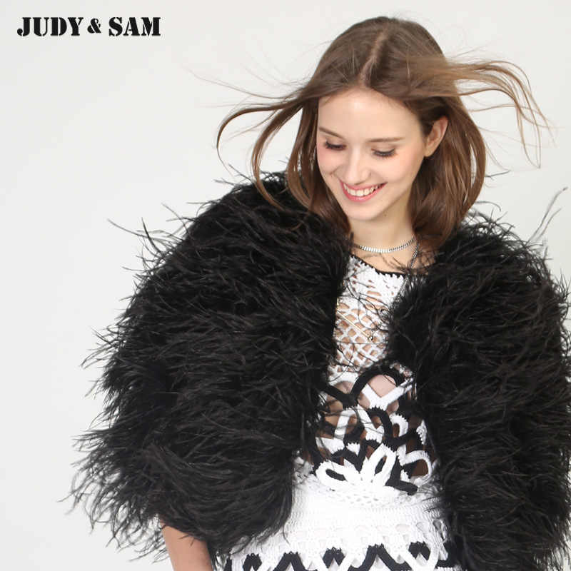 ad4e6c004c78 ... Real Ostrich Feather Women Shawl Colorful Female Cape Winter Solid Real  Fur Luxury Girls Outwear For ...