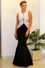 New Arrival 2016 Black And White Satin Lace Applique V Neck Mermaid Floor Length Formal Long Prom Dresses For Wedding Party