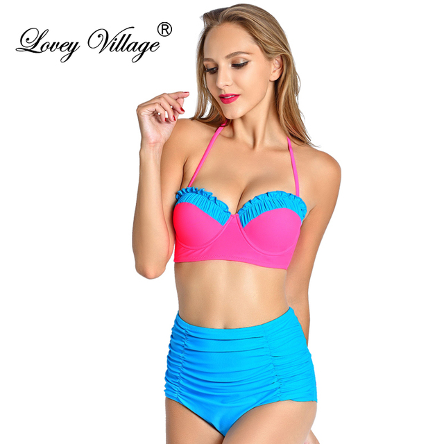 4e26f87dde Bikini 2017 Frauen Retro Pinup Bademode Rockabilly Vintage Hohe Taille  Badeanzug Push Up Badeanzug Brasilianischen Biquini