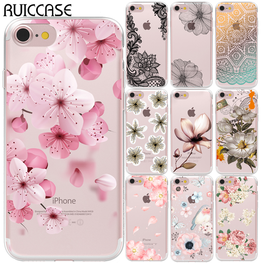 <font><b>Sexy</b></font> Retro Floral Silicone Case For Coque Apple <font><b>iPhone</b></font> 5 5S SE 6 6S 7 <font><b>8</b></font> Plus X XS Max XR Lace Flower Phone Soft TPU Back <font><b>Cover</b></font> image
