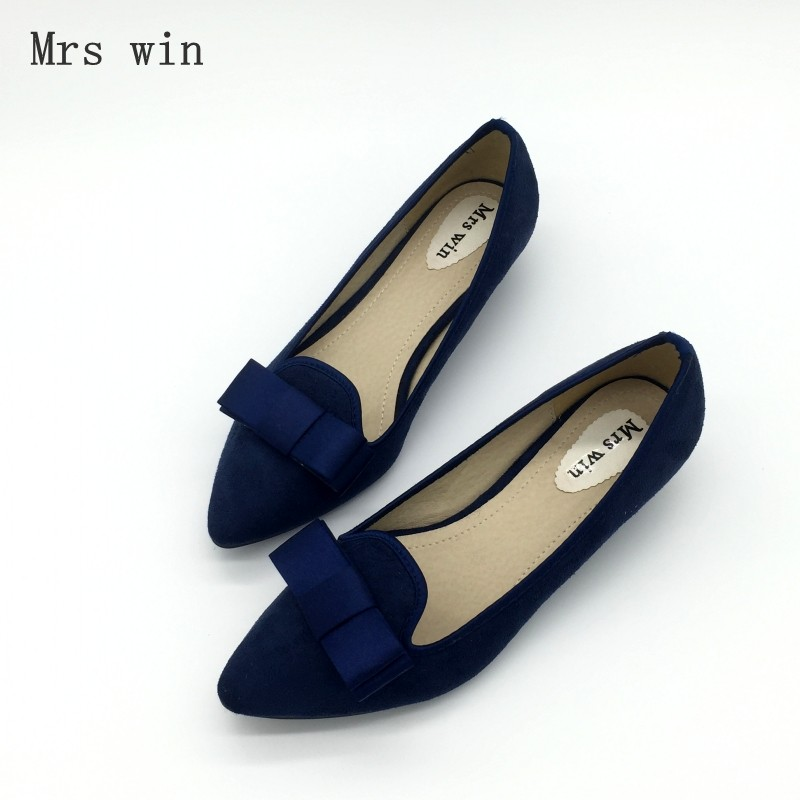 Sexy Blue Pointed Toe Women Pumps Shoes Spring Autumn Flock Bowtie Woman Low Heel Shoes Ladies Casual Single Shoes Plus Size flock women flats 2017 pointed toe ladies single shoes fashion shallow casual shoes plus size 40 43 small yards 33 sapatos