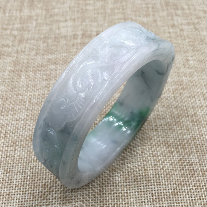 Free shipping 58mm Vintage Chinese Hand-carved White Green Jadeite  Bracelet Bangle 896 a