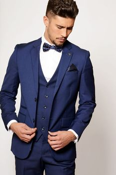 Handsome One Button Blue Groom Tuxedos Groomsmen Notch Lapel Mens Suits Blazers (Jacket+Pants+Vest+Tie) W:1262