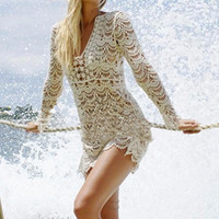 Pareo Knitted Cover Up For Women Bikinis Beach Tunic Robe De Plage Lace Crochet Beachewear Swimsuit